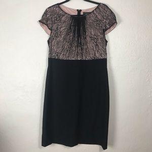 Chelsea Rose Short Sleeve, Lace Sheath Dress